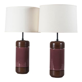 Stinson Lamps in Grogged Plum Glaze - a Pair For Sale