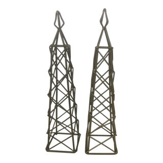 Late 20th Century Metal Obelisks - a Pair For Sale