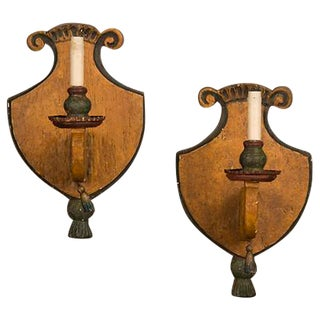 1870s Antique Italian Single Arm Wooden Sconces - a Pair For Sale