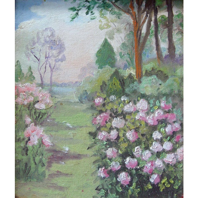 Boho Chic Rose Garden Path Painting For Sale - Image 3 of 3