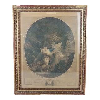 """18th Century Antique After Jean Honoré Fragonard """"Le Serment d'Amour"""" Print For Sale"""
