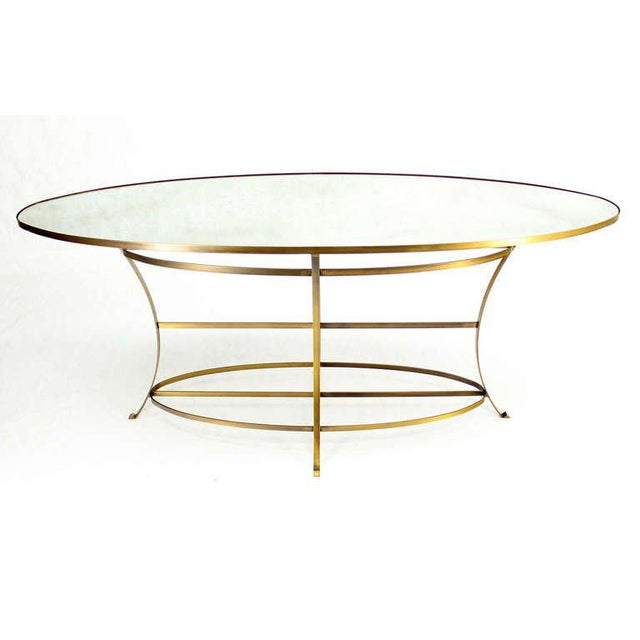 """Unusual shape and size perfect oval display table. 39"""" Bar Height. Nice design and craftsmanship."""