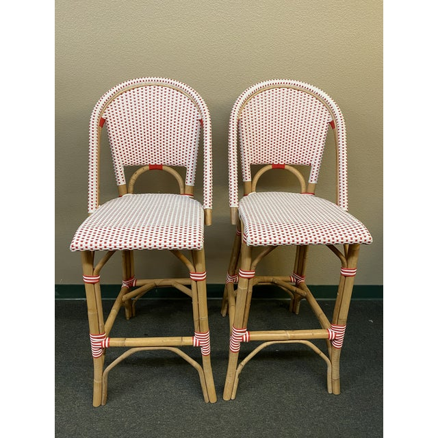 Serena & Lily Riviera Red + White Barstools, a Pair For Sale - Image 11 of 11