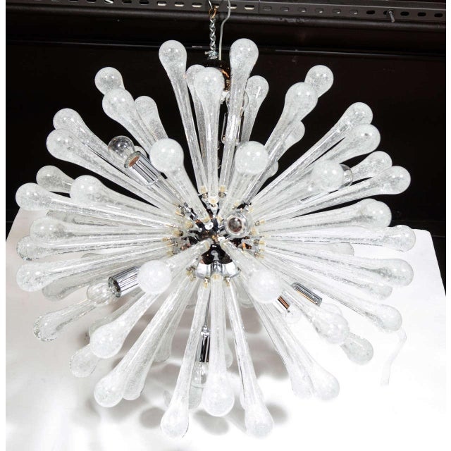 Early 20th Century Modernist Clear Murano Glass Sputnik Chandelier with Chromed Fittings For Sale - Image 5 of 6