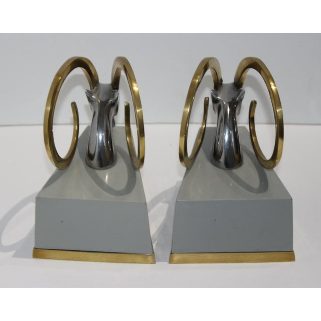 Art Deco Revival Gazelle Brass & Wood Bookends - a Pair For Sale - Image 4 of 10