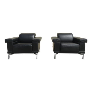 Natuzzi Italian Leather Reclining Chairs - a Pair