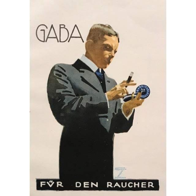 Original 1926 German Art Deco Tobacco Print, Gaba For Sale - Image 6 of 6