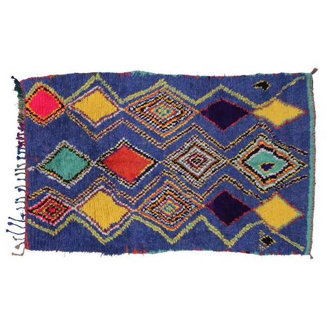 "Blue Vintage Berber Moroccan Tribal Diamond Rug - 4'8"" X 7'3"" For Sale - Image 8 of 9"