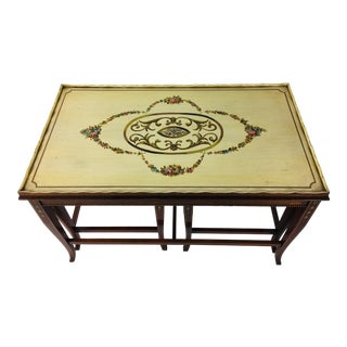 Regency Style Hand Painted Coffee and Side Table Set - 3 Pieces For Sale