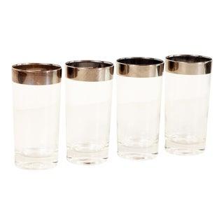 Mid Century Modern Dorothy Thorpe Silver Rim Highball Glasses - Set of 4 For Sale