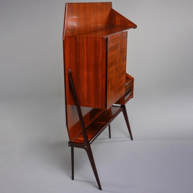 Brown Mid Century Italian Free Standing Rosewood Wall Unit With Marquetry For Sale - Image 8 of 13