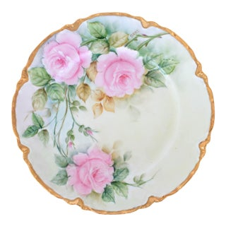 Vintage French Limoges Hand Painted Plate For Sale