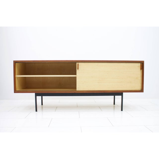 1950s Teak Sideboard With Seagrass Sliding Doors by Dieter Waeckerlin, 1950s For Sale - Image 5 of 8