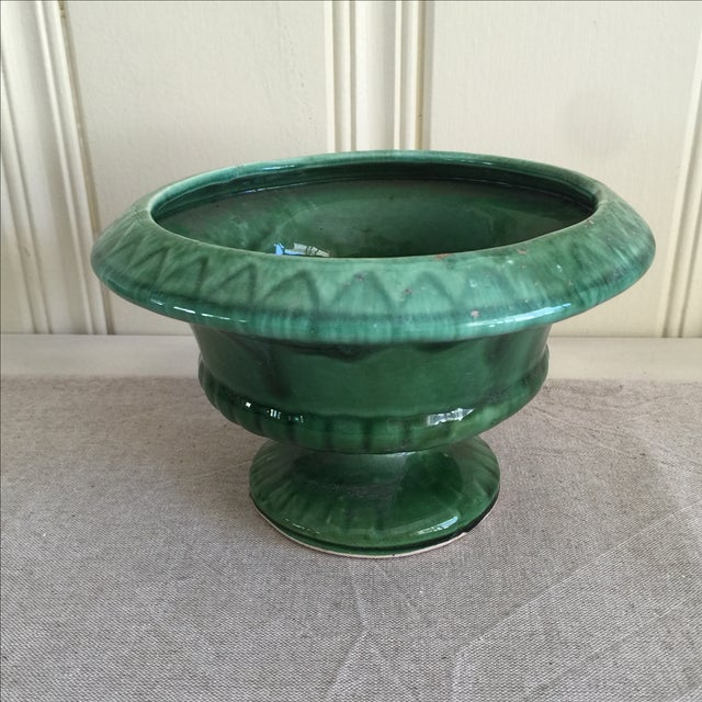 Mid-Century Green Pottery Vessel - Image 3 of 7