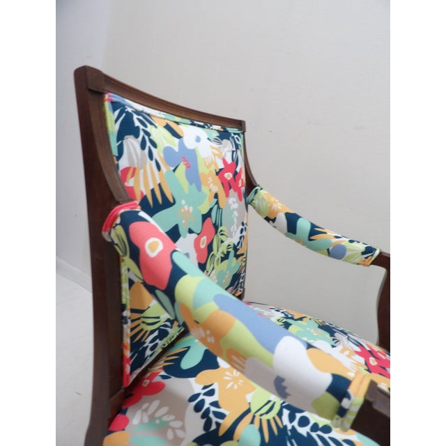 Mid 20th Century Colorful Upholstery Bold Accent Side Arm Chair For Sale - Image 5 of 7