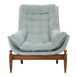 Mid-Century Powder Blue Accent Chair