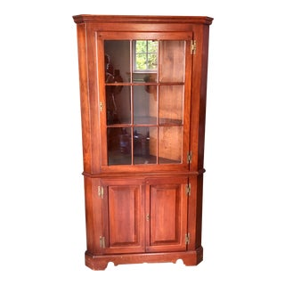 Harden Furniture Cherry Corner Cabinet For Sale