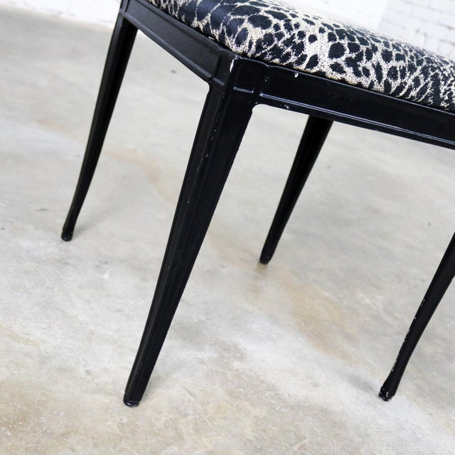 Tan Black Art Deco and Animal Print Bench Ottoman Footstool Cast Aluminum by Crucible For Sale - Image 8 of 11