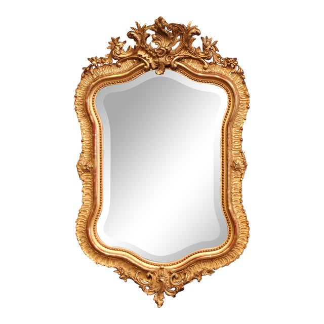 19th Century French Louis XV Carved Giltwood and Beveled Wall Mirror For Sale