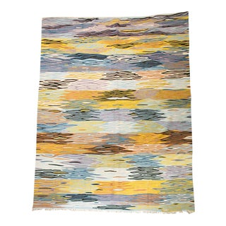 """Bold Multi-Color Moroccan Wool Flat-Weave Area Rug - 10'2"""" X 7' Ft For Sale"""