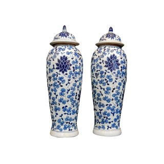 Tall B&w Porcelain Ginger Jars - a Pair