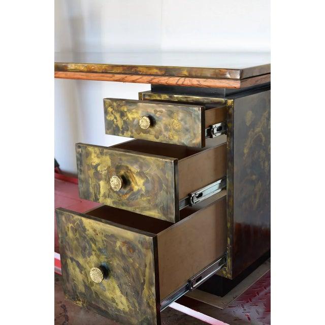Metal Timeless Mid Century Modern Studio Brass Desk For Sale - Image 7 of 13