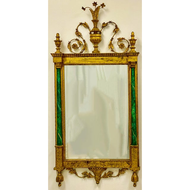 Free shipping in the Southeast...inquire. This is a pair of giltwood Italian mirrors flanked by faux malachite painted...