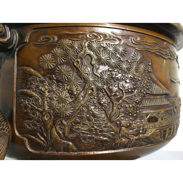 Bronze Japanese Cast Bronze Hibachi Jardiniere, Meiji Period For Sale - Image 7 of 11