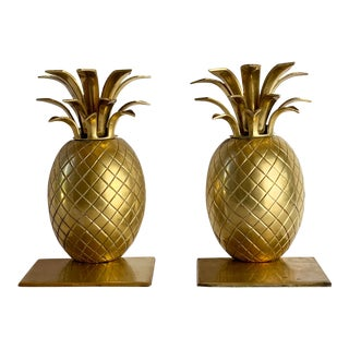 1970s Vintage Brass Pineapple Bookends – Pair For Sale