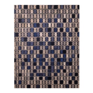 Rug & Kilim's Scandinavian Style Geometric Silver Gray and Blue Wool Pile Rug For Sale