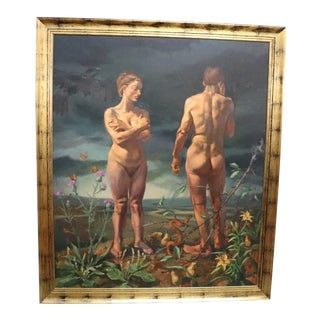 Large Adam & Eve Painting by Al Gury, Framed For Sale