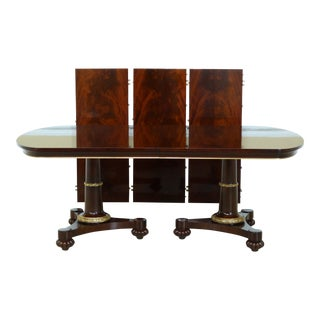 John Widdicomb NeoClassical Flame Mahogany Dining Room Table For Sale