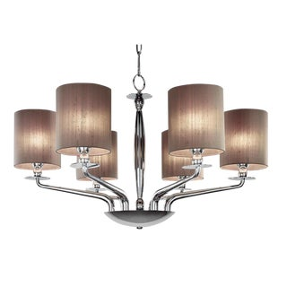 6 Lamp Polished Chrome Chandelier For Sale