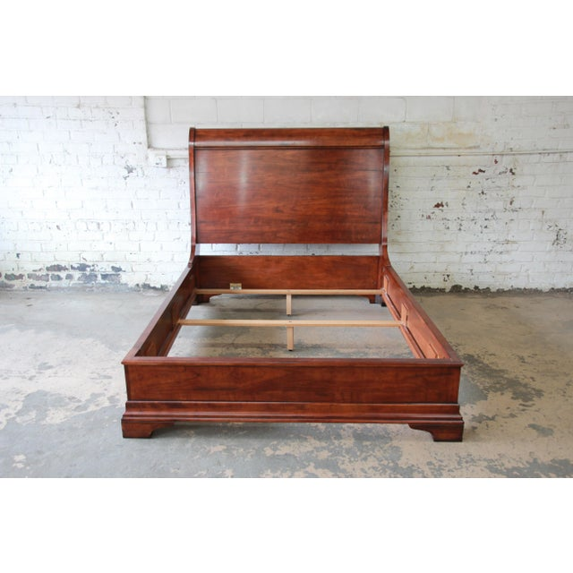 Henredon Henredon Aged Cherry Wood Queen Size Sleigh Bed For Sale - Image 4 of 11