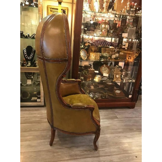 Louis Xv Style Carved Beechwood Amp Leather Porter Chair