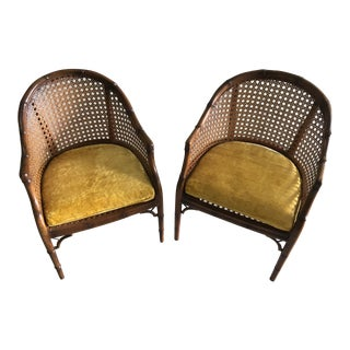 Vintage Caned Faux Bamboo Barrel Back Chairs - a Pair