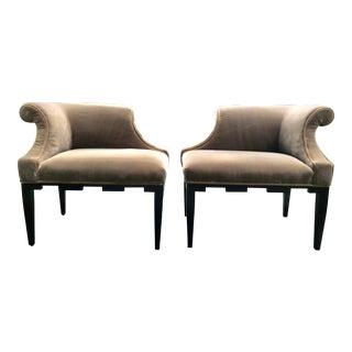 1990s Regency Baker Mushroom Velvet Upholstered Corner Chairs - a Pair For Sale