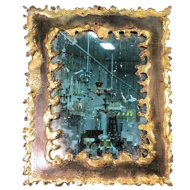 Gold Paul Evans Style Brutalist Mirror For Sale - Image 8 of 8