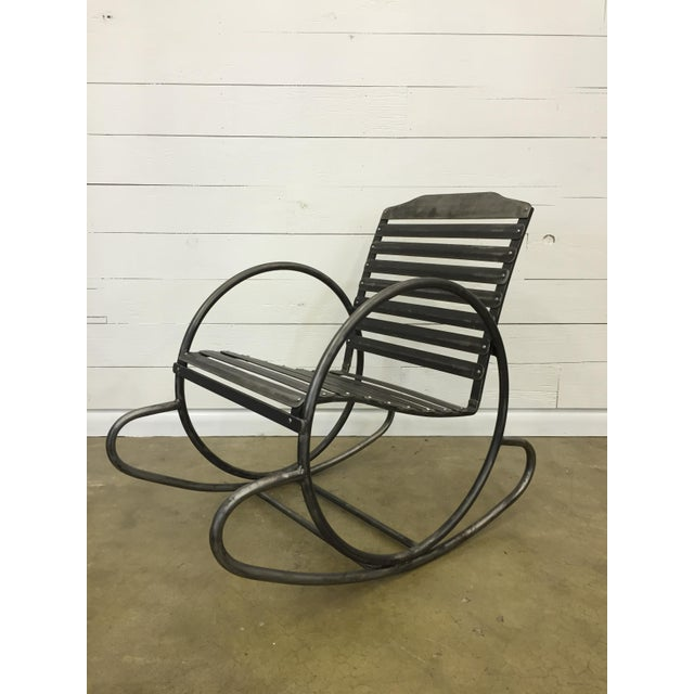 Iron Wrought Iron Porch Rocking Chair For Sale - Image 7 of 8