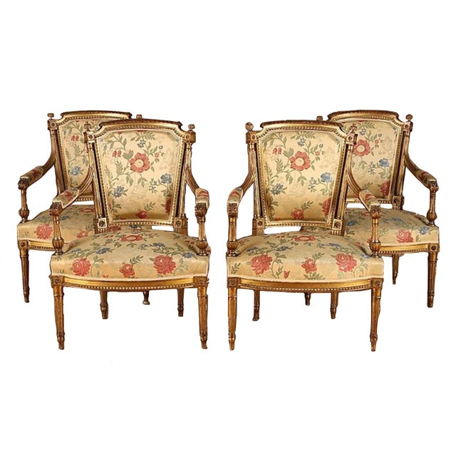 Wood French Gilt Wood Louis XVI Style Settee & Arm Chairs - Set of 5 For Sale - Image 7 of 13