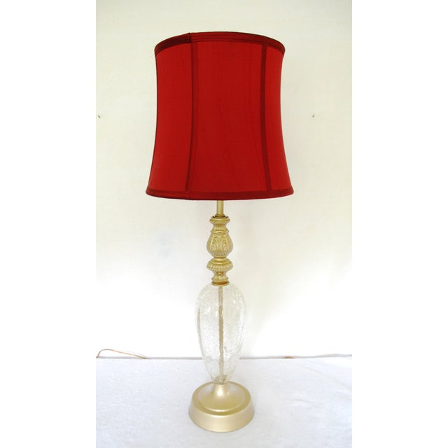 Vintage Crackle Glass Table Lamp With Red Shade - Image 2 of 7