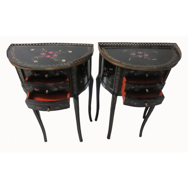 Mid-Century Black Demilune Side Tables - A Pair - Image 3 of 8