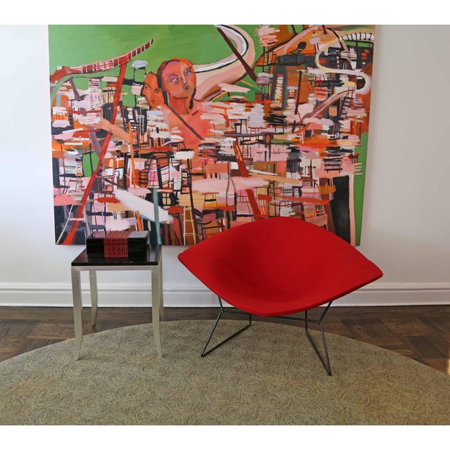 Diamond chair designed by Harry Bertoia for Knoll in 1952 - Original powder coated black frame with wire seat back -...