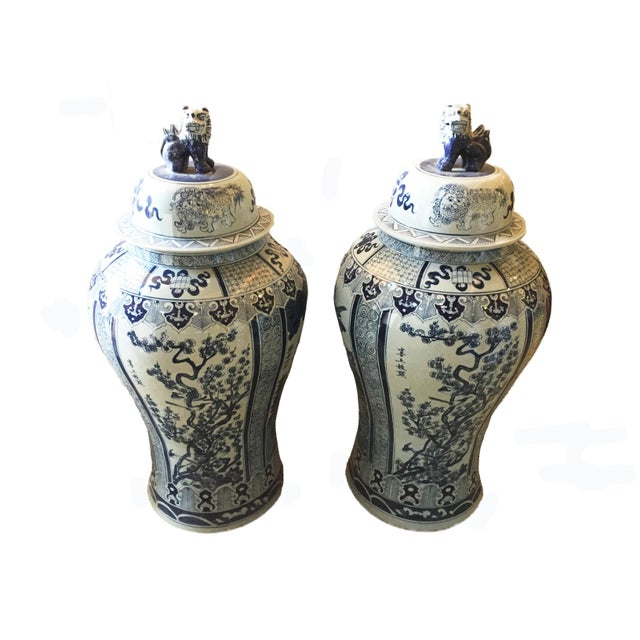 """Ceramic Mansion Size H. Painted Chinoiserie Ginger Jars - a Pair 47.5"""" H For Sale - Image 7 of 9"""