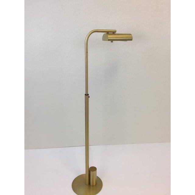 Distinguished satin brass adjustable reading floor lamp by charles satin brass adjustable reading floor lamp by charles hollis jones image 8 of 9 aloadofball Gallery