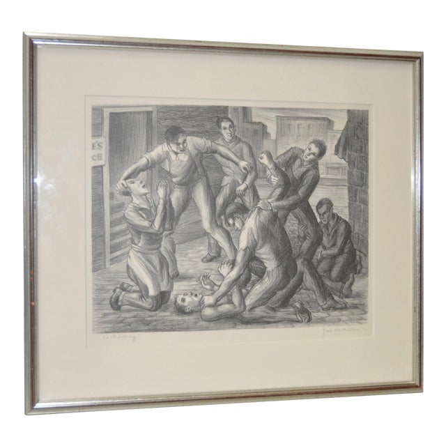 """""""Controversy"""" Social Realism Pencil Signed Lithograph by Jack McMillen For Sale"""