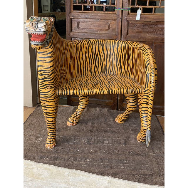 Wood 1970's Vintage Tiger Tub Chair For Sale - Image 7 of 13