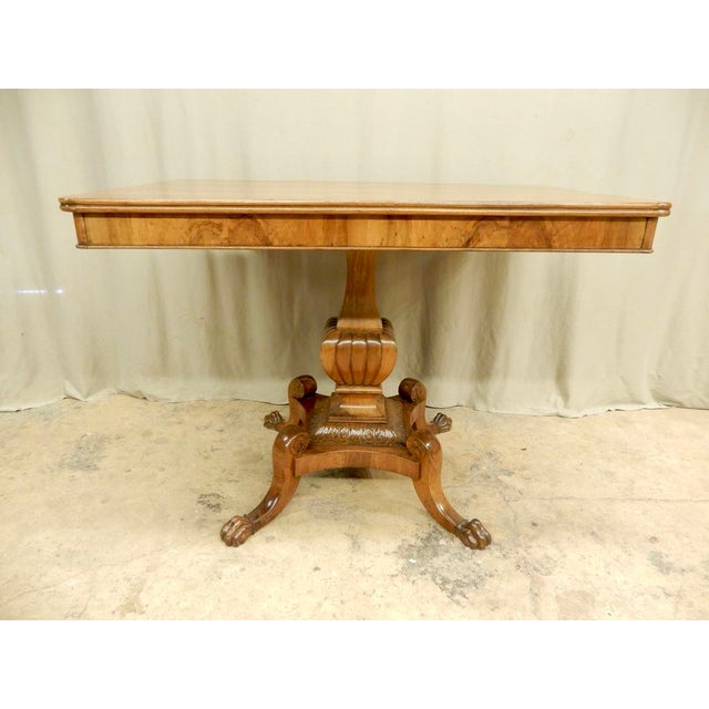 Brown Italian Walnut Pedestal Table For Sale - Image 8 of 8