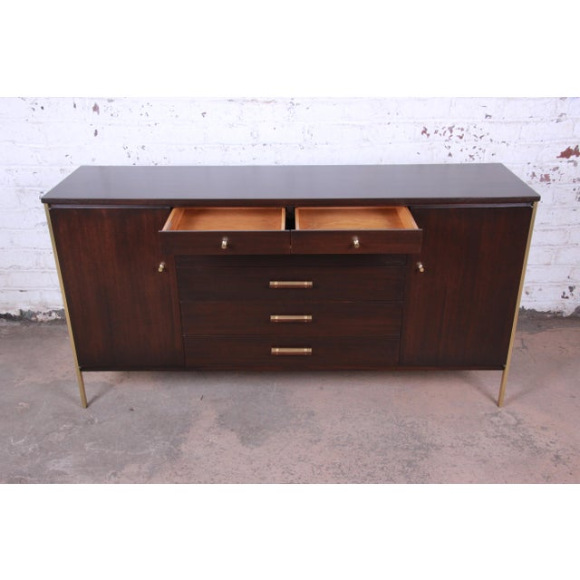 Paul McCobb for Calvin Mahogany and Brass Sideboard Credenza For Sale In South Bend - Image 6 of 13
