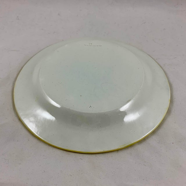 Josiah Wedgwood Pearlware Hand Enameled Cabbage Leaf Plates, Dated 1860, Set / 6 For Sale - Image 9 of 13